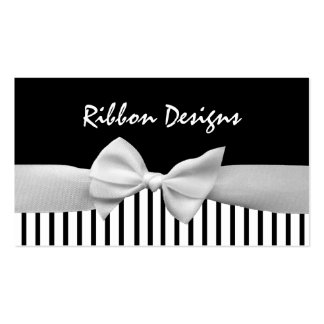 Black & white ribbon bow and stripes pack of standard business cards