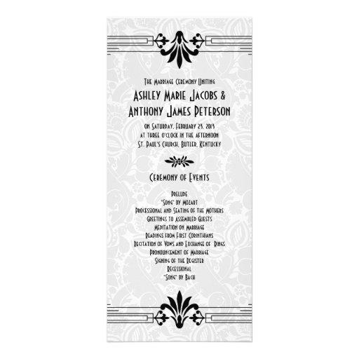 Black White Roaring 20s Art Deco Wedding Program Rack Card