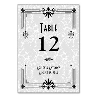 Black White Roaring 20s Art Deco Wedding Table Cards