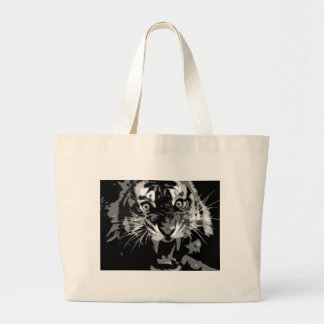Black & White Roaring Tiger Large Tote Bag