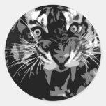 Black & White Roaring Tiger Sticker