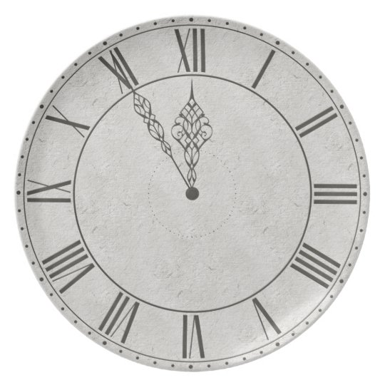 Black & White Roman Numeral Clock Face Plate