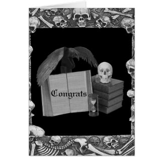 Black & White Romance Skull Spellbook Wedding Card