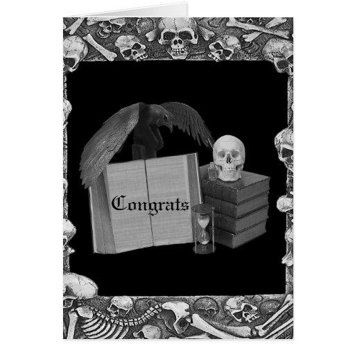 Black & White Romance Skull Spellbook Wedding Cards