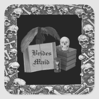 Black & White Romance Skull Spellbook Wedding Square Sticker
