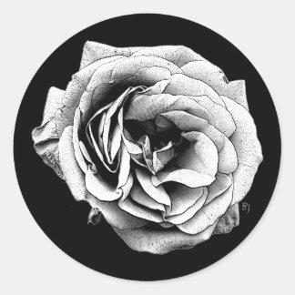 Black White Rose | Elegant Classic Round Sticker