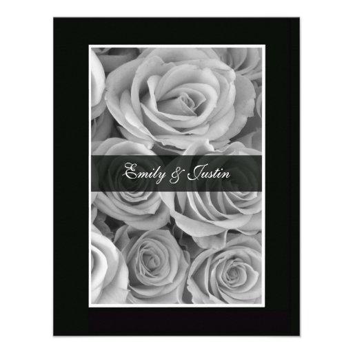 Black & White Rose Save the Date Invitation Invite
