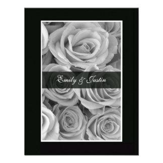 Black White Rose Save the Date Invitation Invite