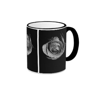 Black & White Rose With Dew Drops Ringer Mug