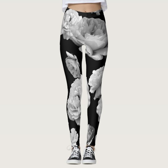 Black+White Roses Athleisure Yoga Pants Leggings