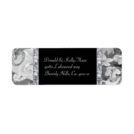 Black & White Roses & Diamond Swirls Wedding Return Address Label