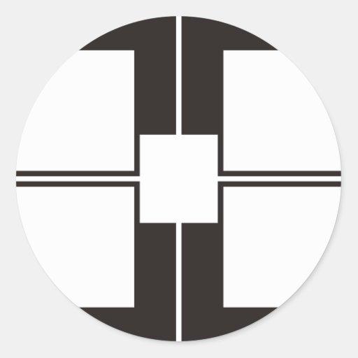 black white round sticker