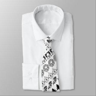 Black/White Rows Christmas Font Art Pattern Tie
