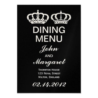 Black White Royal Couple Dining Menu Card