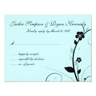 Black & White RSVP Card Floral Wall Blue 11 Cm X 14 Cm Invitation Card