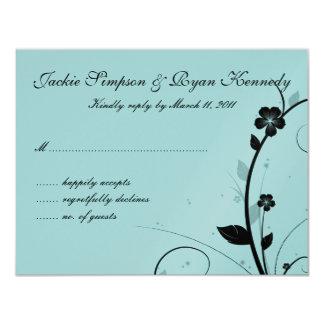 Black & White RSVP Card Floral Wall Blue Silver 11 Cm X 14 Cm Invitation Card