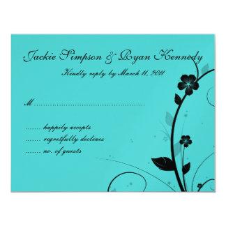 Black & White RSVP Card Floral Wall Blue Silver 2 11 Cm X 14 Cm Invitation Card
