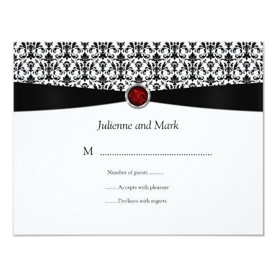 Black White Ruby Gemstone RSVP Card
