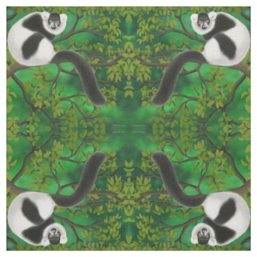 Black White Ruffed Lemur Fabric