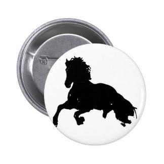 Black White Running Horse Silhouette 6 Cm Round Badge