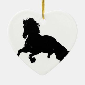 Black White Running Horse Silhouette Ceramic Heart Decoration