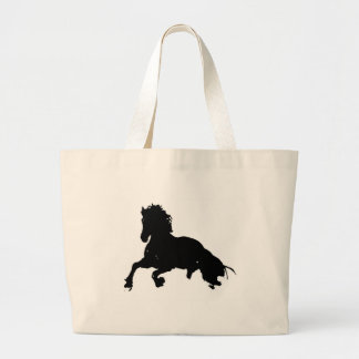 Black White Running Horse Silhouette Large Tote Bag
