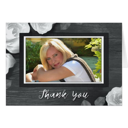 Black White Rustic Roses Photo Sympathy Thank You