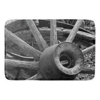Black & White Rustic Wagon Wheel Shower/Bath Mat