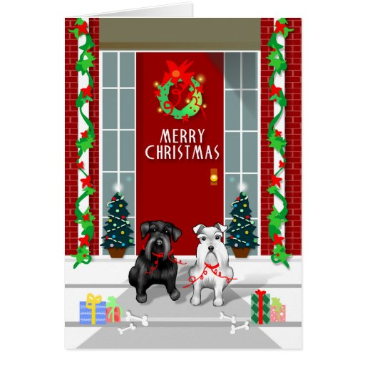 Black & White Schnauzer Merry Christmas Card