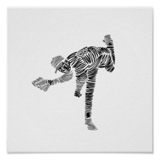 Black & White Scribble Pitcher Poster