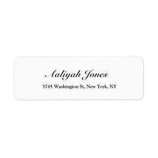 Black & White Script Elegant Professional Creative Return Address Label