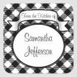 Black+White Script -From the Kitchen Of- Jar/Label Square Stickers