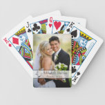 Black, White Scroll Wedding Photo Playing Cards