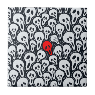 Black & White Sculls Pattern Touch Of Red Small Square Tile