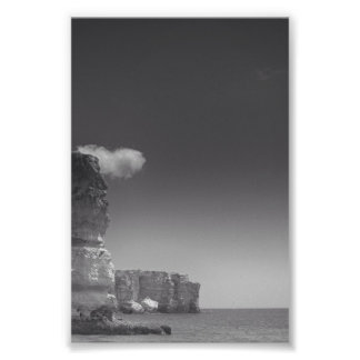 Black & White Sea Against Rocks Portugal Art Photo