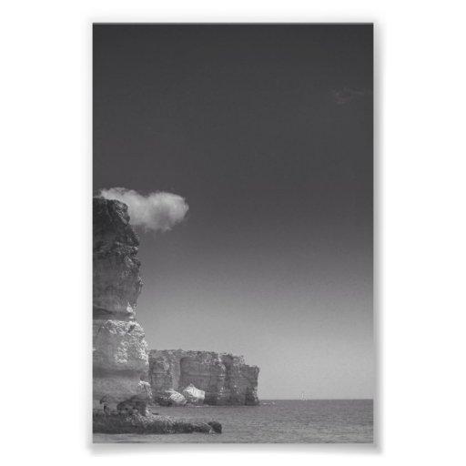 Black & White Sea Against Rocks Portugal Art Photo