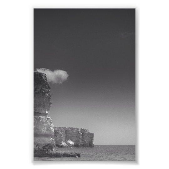 Black & White Sea Against Rocks Portugal Photo