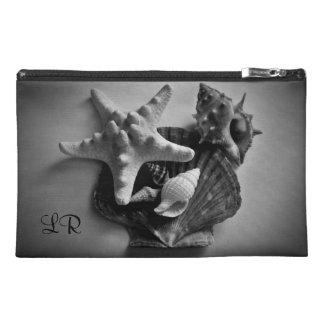 black white seashells photo travel accessories bag