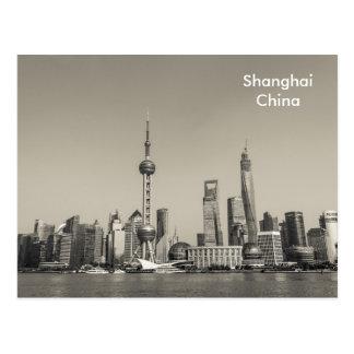 Black & White Shanghai Vintage Travel Tourism Ad Postcard