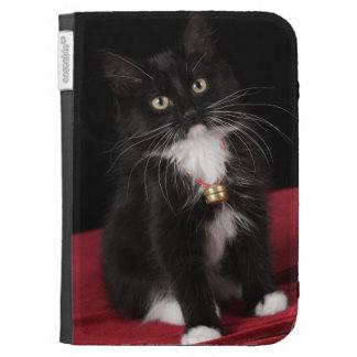 Black & white short-haired kitten,2 1/2 months kindle 3 cases