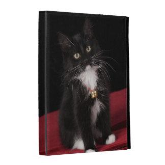 Black white short-haired kitten 2 1 2 months iPad folio case
