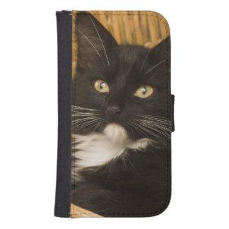 Black & white short-haired kitten on hamper lid, galaxy s4 wallet case