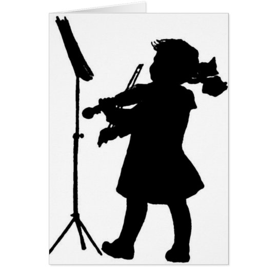 Black & White Silhouette Girl Playing Violin Greet