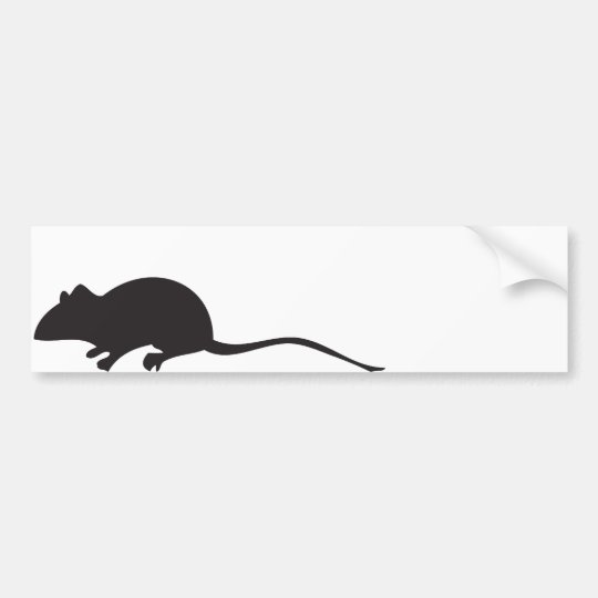 Black & white silhouette mouse print bumper sticker