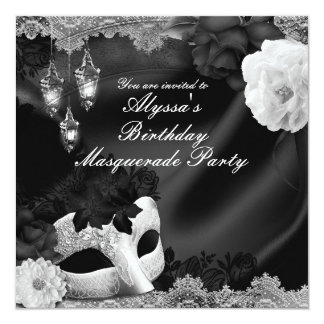 Black & White Silk Floral & Lace Masquerade Party Card