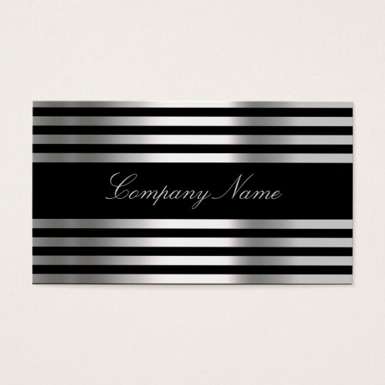 Black White Silver Abstract Business Card