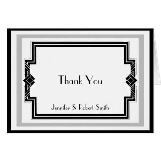 Black White Silver Art Deco Anniversary Thank You Card