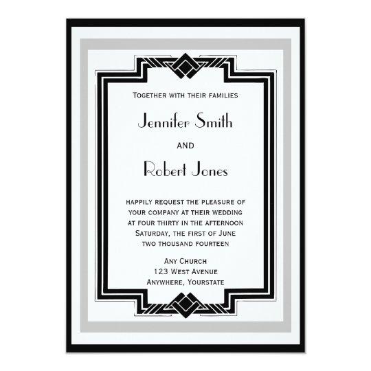 Black White Silver Art Deco Frame Wedding 13 Cm X 18 Cm Invitation Card