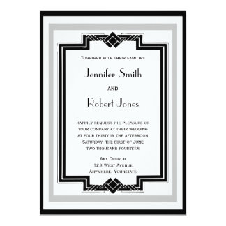 Black White Silver Art Deco Frame Wedding Card