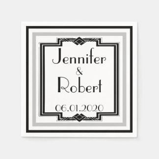 Black White Silver Art Deco Frame Wedding Napkin Paper Napkins